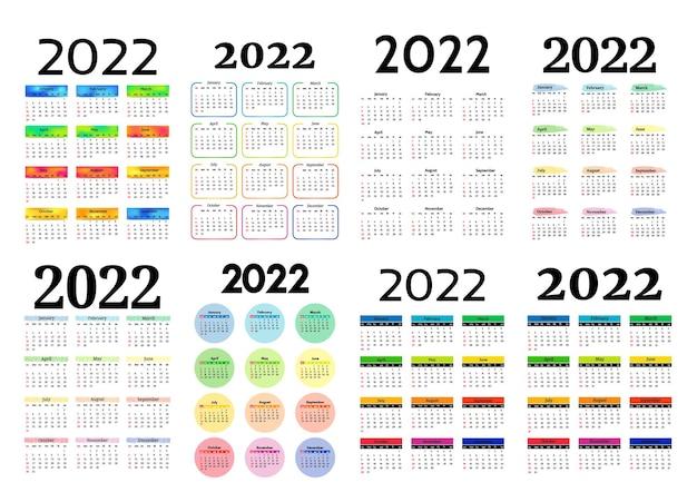 Zestaw ośmiu kalendarzy pionowych na rok 2022 na białym tle na białym tle. od niedzieli do poniedziałku, szablon biznesowy. ilustracja wektorowa