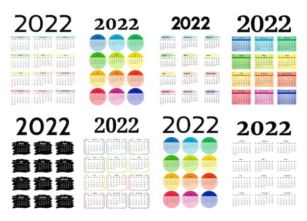 Zestaw ośmiu kalendarzy pionowych na rok 2022 na białym tle. od niedzieli do poniedziałku, szablon biznesowy. ilustracja wektorowa