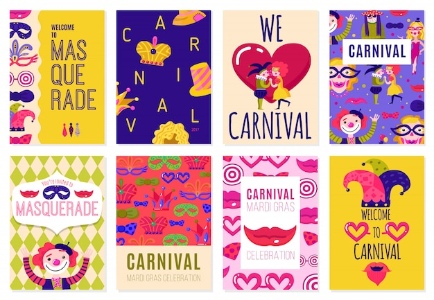 Zestaw ośmiu plakatów karnawałowych