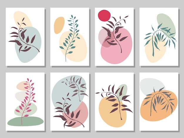 Zestaw ośmiu plakatów z liśćmi i kamieniami, piramidą z kamieni i gałązką, abstrakcyjna grafika wektorowa