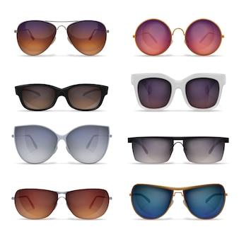 Zestaw ośmiu realistycznych zdjęć izolowanych okularów przeciwsłonecznych z modelami okularów przeciwsłonecznych o różnych kształtach i kolorach