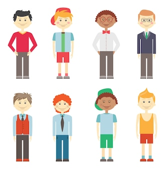 Zestaw ośmiu różnych kolorowych wektorów uśmiechniętych chłopców w swobodnych, eleganckich i sportowych ubraniach z różnymi fryzurami i pochodzeniem etnicznym