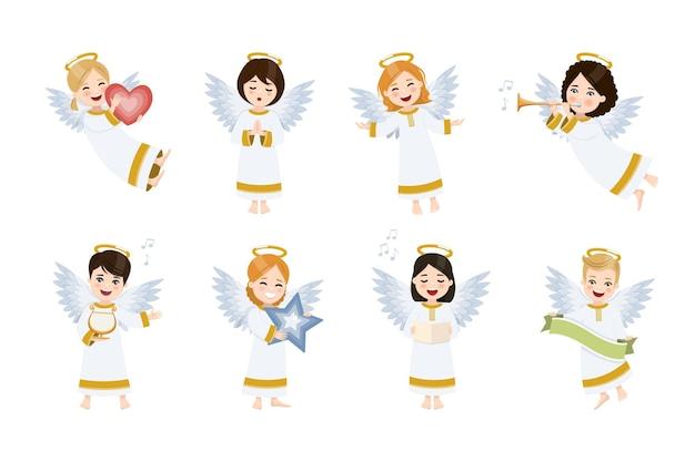 Zestaw ośmiu słodkich i szczęśliwych aniołów. grupa na białym tle.