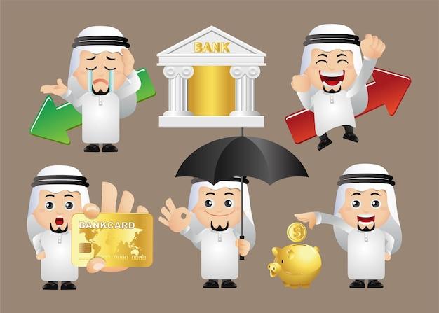 Zestaw osób. arabscy ludzie biznesu.