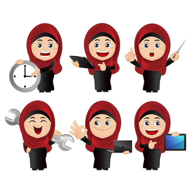 Zestaw osób. arabski zestaw bizneswoman.