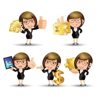 Zestaw osób - biznes - bizneswoman. zestaw finansów