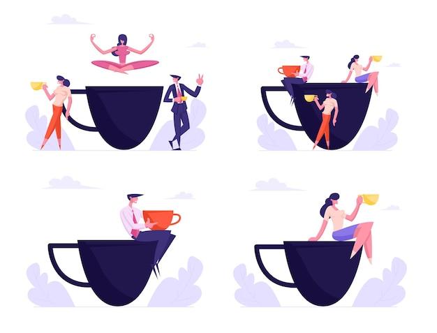 Zestaw osób biznesowych, przyjaciół lub współpracowników na spotkaniu w przerwie kawowej