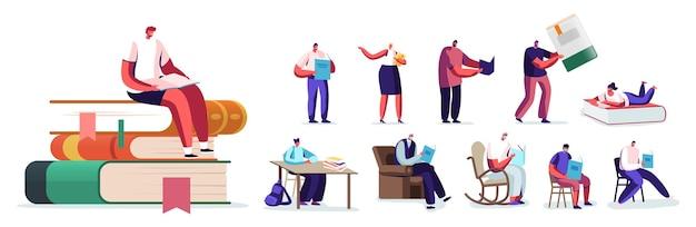 Zestaw osób czytających i studiujących, przygotowujących się do egzaminu, edukacji, zdobywania wiedzy. czytanie postaci męskich i żeńskich, siedzenie na stosie ogromnych książek, fotel na kółkach w domu. ilustracja kreskówka wektor