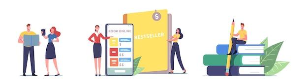 Zestaw osób czytających książki papierowe i elektroniczne