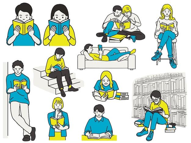 Zestaw osób czytających książki