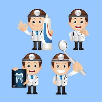 Zestaw osób. dentysta