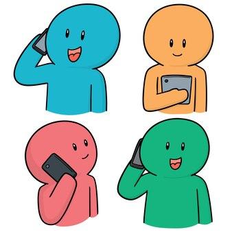 Zestaw osób korzystających ze smartfona
