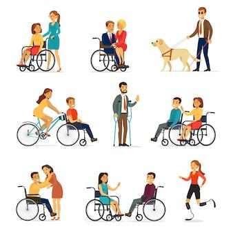 Zestaw osób niepełnosprawnych i niepełnosprawnych