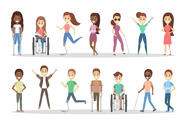 Zestaw osób niepełnosprawnych. mężczyźni i kobiety o kulach i wózku inwalidzkim.