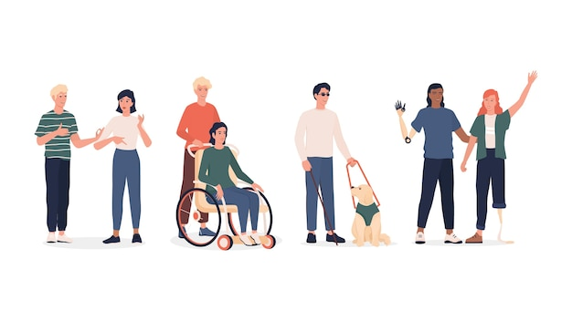 Zestaw osób niepełnosprawnych. mężczyźni i kobiety z protezami i wózkiem inwalidzkim, osoby głuchonieme i niewidomy z psem. .