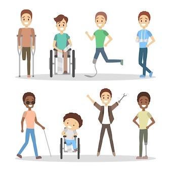 Zestaw osób niepełnosprawnych. mężczyźni o kulach i wózku inwalidzkim.