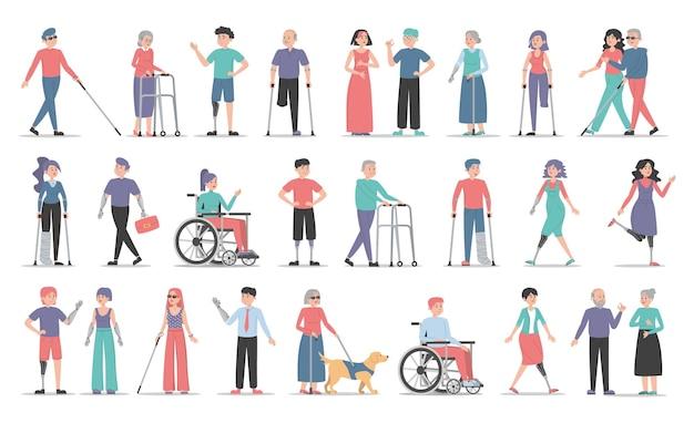 Zestaw osób niepełnosprawnych. zbiór postaci z niepełnosprawnością