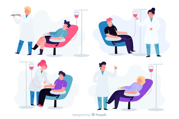 Zestaw osób oddających krew