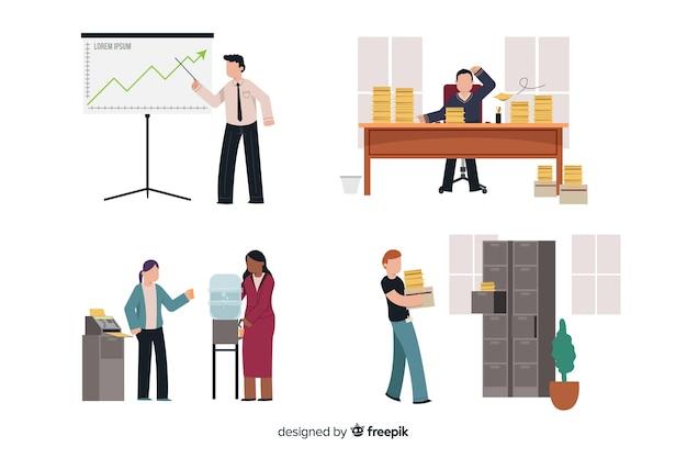 Zestaw osób pracujących w biurze