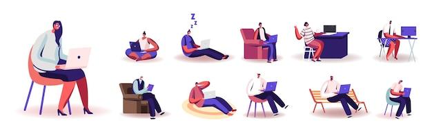 Zestaw osób pracujących w domu na komputerach. męskie i żeńskie postacie zdalne miejsce pracy, praca w domu, niezależny zawód samozatrudniony na białym tle. ilustracja kreskówka wektor