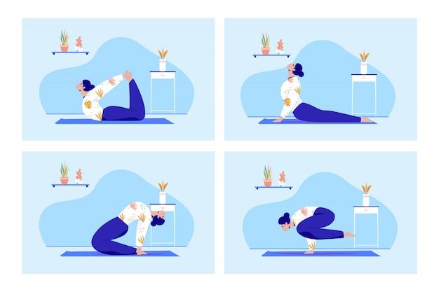 Zestaw osób praktykujących jogę