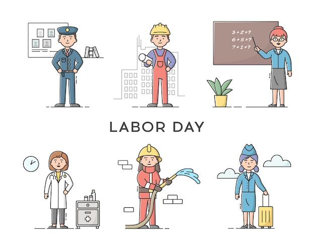 Zestaw osób różnych zawodów. święto pracy. policjant, konstruktor, nauczyciel, lekarz, stewardessa i strażak. profesjonalni pracownicy.