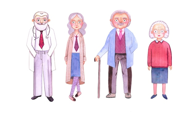 Zestaw osób starszych. dwie babcie i dwóch dziadków. jeden dorosły lekarz mężczyzna w białym fartuchu