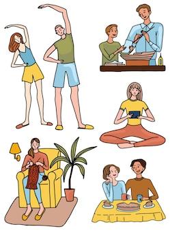 Zestaw osób zajmujących się różnymi hobby i rozrywką w domu. ręcznie rysowane ilustracje wektorowe kolekcji w prostym stylu. kolorowe rysunki do projektowania na białym tle.