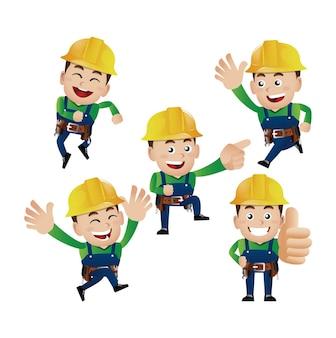 Zestaw osób - zawód - pracownik. budowniczy