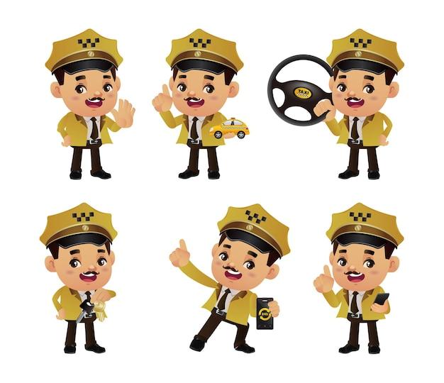 Zestaw osób - zawód - taksówkarz