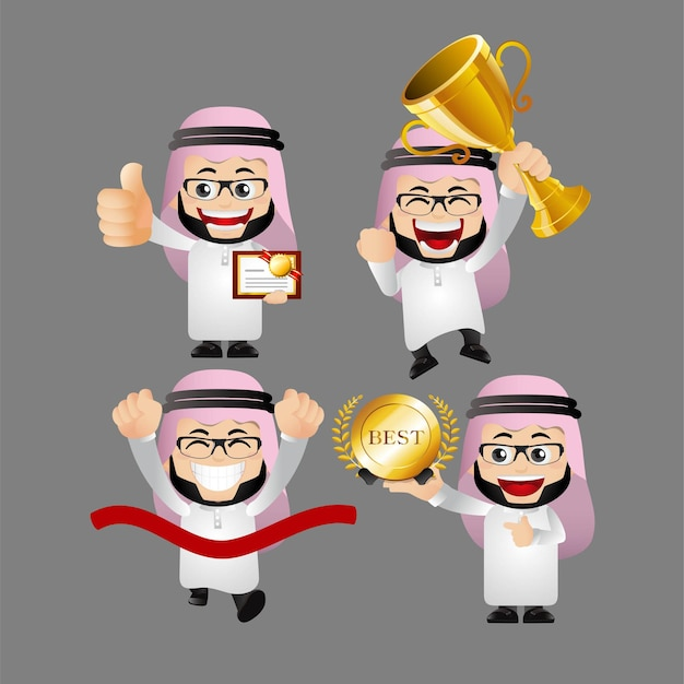 Zestaw osób. zestaw arabskiego biznesmena