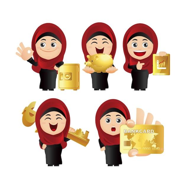 Zestaw osób. zestaw arabskiej bizneswoman