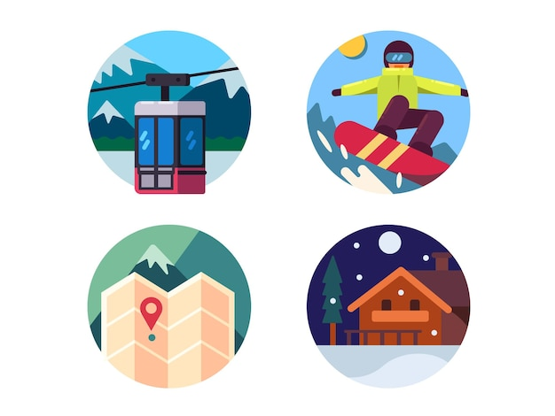 Zestaw ośrodka narciarskiego. jeździć na snowboardzie w górach. ilustracji wektorowych. idealne ikony pikseli