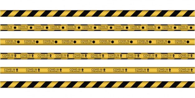 Zestaw ostrożny, linia uwagi corona virus 2020. żółta linia w paski. infekcje wirusowe. koronawirus (2019-ncov). wirus covid 19-ncp. komórki wirusa