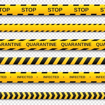 Zestaw ostrzegawczy żółtych i czarnych bezszwowych taśm