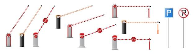 Zestaw otwartej i zamkniętej bramy szlabanu parkingowego ze znakami stop i park na białym tle. granica zatrzymania ulicy drogowej. 3d ilustracji wektorowych