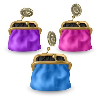 Zestaw otwieranych torebek w różowym, niebieskim i fioletowym kolorze. padające złote monety otwierają portfel.