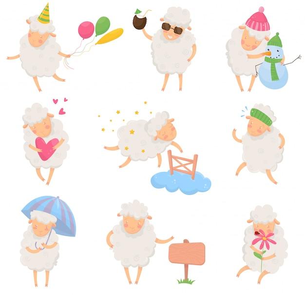 Zestaw owiec kreskówek w różnych sytuacjach. zabawny charakter zwierzęcia domowego z puszystą wełną. kolorowy, płaski projekt pocztówki, naklejki lub książki dla dzieci