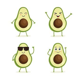 Zestaw owoców awokado w różnych akcji emocji