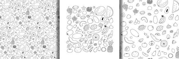 Zestaw owoców i bezszwowe wzory kolekcja wegetariańska doodle
