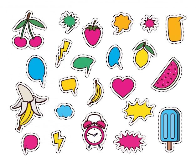 Zestaw owoców i ikon w stylu pop-art