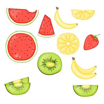 Zestaw owoców i jagód: kiwi, banan, arbuz i truskawka, cytryna. ilustracja wektorowa na białym tle