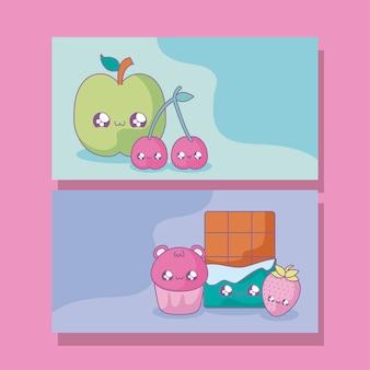 Zestaw owoców i potraw w stylu kawaii