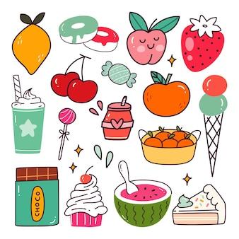 Zestaw owoców i słodkich kawaii doodle