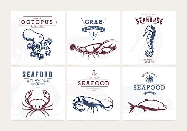 Zestaw owoców morza banery restauracji rybnej