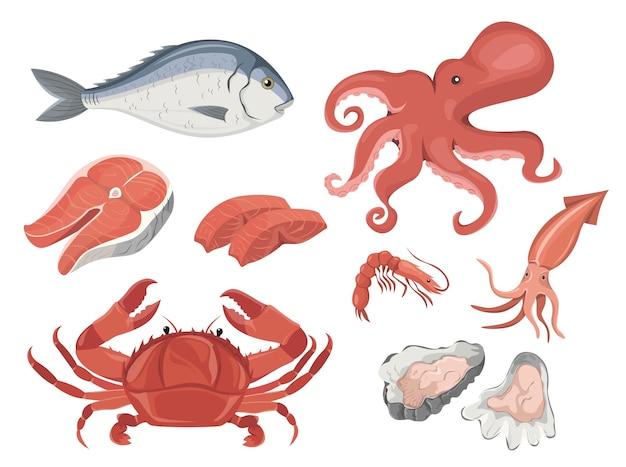 Zestaw owoców morza, który zawiera ośmiornice, kalmary, krab, krewetki, łosoś, ostrygi dorado