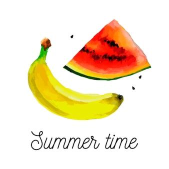 Zestaw owoców - rysowanie akwareli bananów arbuza