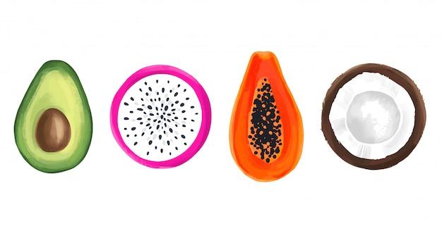 Zestaw owoców tropikalnych. papaja, smocze owoce, pitaya lub pitahaya, kokos i awokado