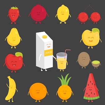 Zestaw owoców. truskawka, granat, cytryna, wiśnia, gruszka, jabłko, kiwi banan ananas pomarańczowy arbuz