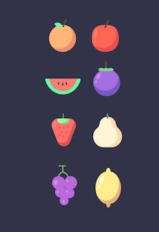 Zestaw owoców. zestaw ikon owoców. ilustracja wektorowa owoców